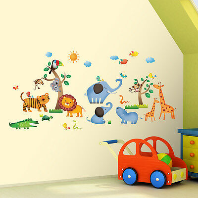 Decowall DW 1206 Jungle large Wall Stickers Children Kids Tattoos decal Quote