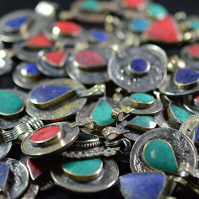 10 Real Coins Tribal Gypsy Belly Dance Banjara Ethnic Afghan Jewelry Stone Mix