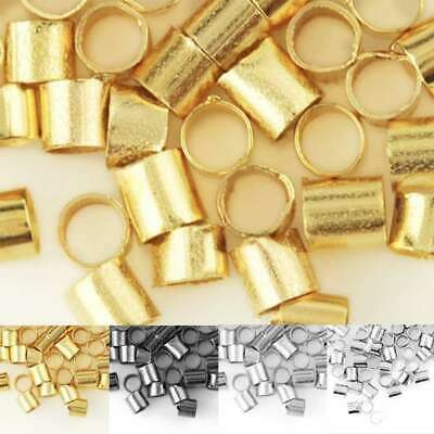 20g (Approx 1500/900pcs) Tube Spacer Crimps End Beads Findings Wholesale 1.5/2mm