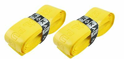 2 x Karakal Super PU Replacement Grips Yellow - Squash or Badminton Length