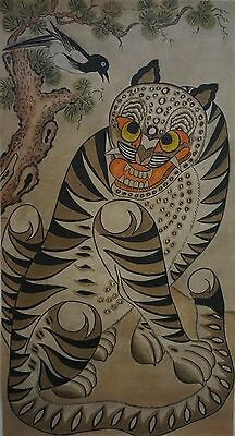 Beautiful Antique Korean Min Hwa Magpie & Tiger Painting on Mulberry Paper