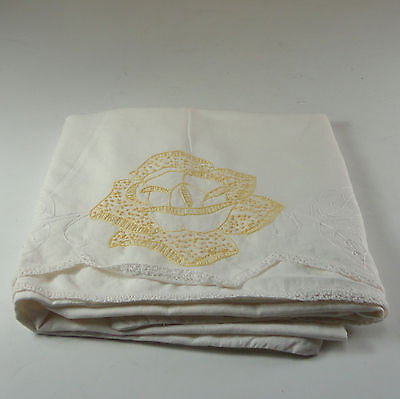 Vintage Cotton Embroidered Pillowcase White with Gold & White Floral Lace border