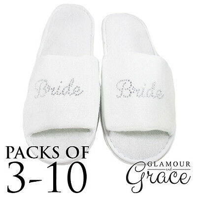 Bulk Pack Slippers Bride Wedding Bridal Party Bridesmaid Hens Night Personalised
