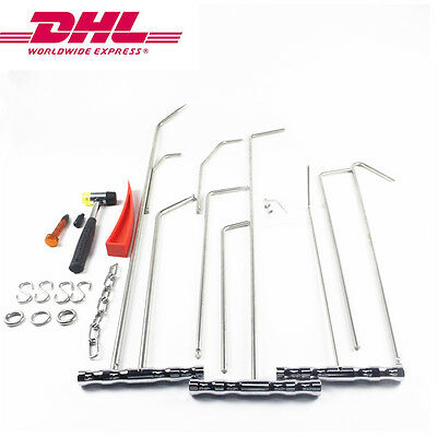 Silver RODs Paintless Dent Repair Tools PDR Crowbar Auto Body Hail Set  S Hooks