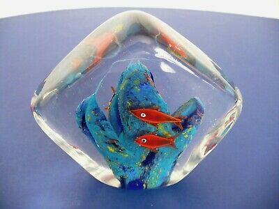 "Vintage Murano Italian Glass 4 Fish Aquarium Paperweight Figurine. 3.75"" Tall"