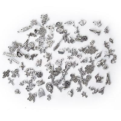 100 Assorted Antique Tibetan Silver Charm Pendant DIY Jewelry Craft Findings