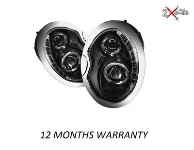 Bmw Mini 01-06 R50 R52 53 Black Led R8 Projector Drl & Halo Angel Eye Headlights