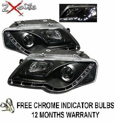 Vw Passat B6 2004-2010 Black Drl Led R8 Style Devil Eye Projector Headlights