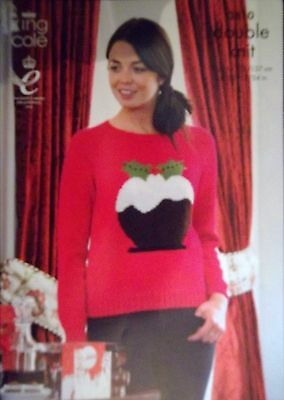 """King Cole Christmas DK Knitting pattern Unisex Jumpers 28-48"""" Xmas pudding 3810"""