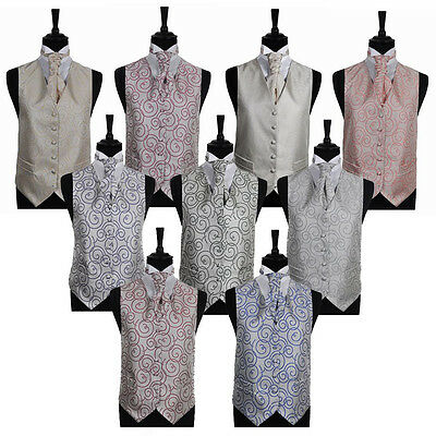 "Men's Circular Swirl Wedding Groom Ascot Waistcoat Only Size 34"" - 60"""