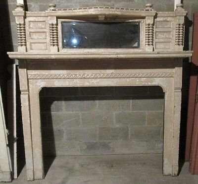 UNIQUE TALL EARLY FIREPLACE MANTEL 52 INCH OPENING 68x72 ARCHITECTURAL SALVAGE ~
