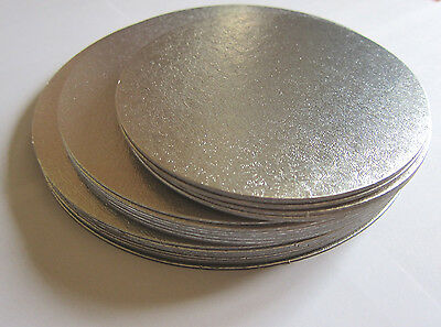 Pack of 5 Silver Round Cut Edge Cake Cards Boards Single Card 6,7,8,9""