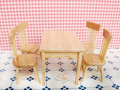 Dollhouse Miniature Kitchen Dining Room Furniture Wooden Table 4 Chairs Set
