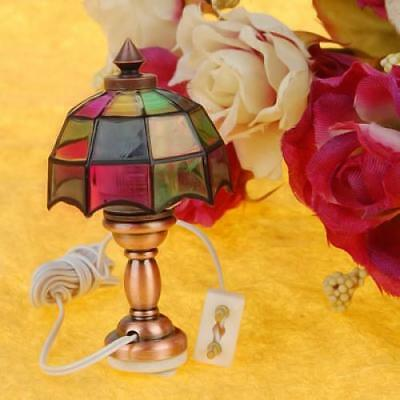 1/12 Bedside Table Lamp Colored Shade Dollhouse Miniature Light Victorian