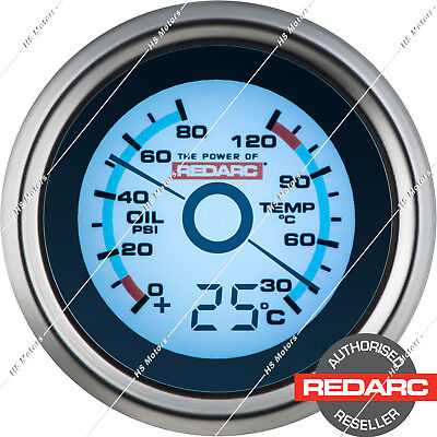 REDARC 52mm Oil Pressure & Water Temperature Gauge Optional Temp Display G52PWT