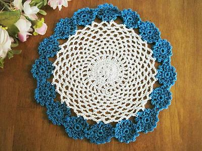 Chic Bright Blue White Flower Hand Crochet Cotton Doily G