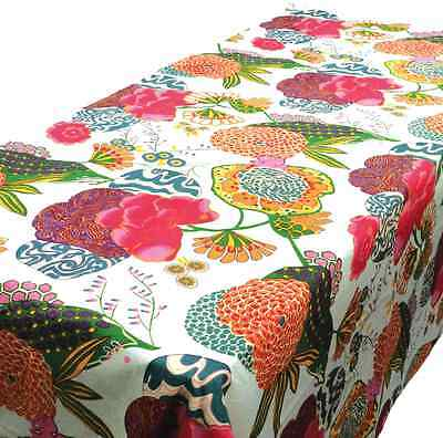 Large Samsara White Cotton Contemporary Floral Table Cloth 150 x 250 cm