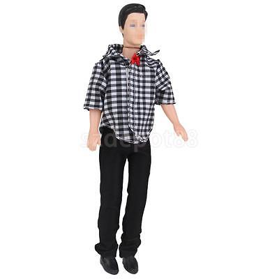 Checked Shirt Jeans Trousers Pants Outfit Clothes Set for Barbie Ken Dolls