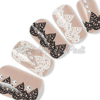 Nail Art Water Decals Transfers Stickers Black & White Henna Leaves Lace Y202