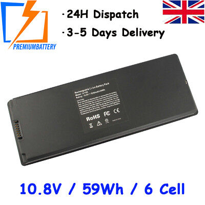 """6 Cell 5600mAh Battery for Apple MacBook 13"""" A1185 A1181 Laptop Black UK"""