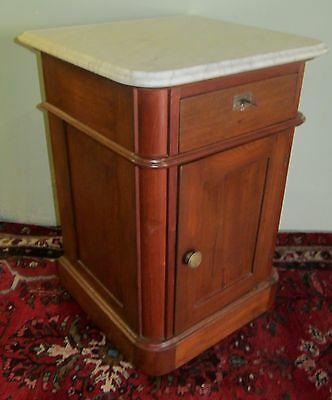 Victorian 19Th Century Walnut Marble Top Nightstand