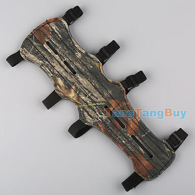 Leather Shooting Archery Arm Guard Safe 4 Straps Camouflage Protection Gear