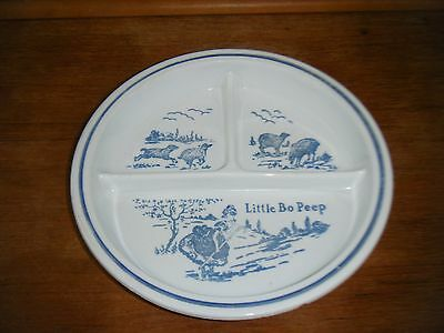 Vintage Hocking Vitrock Divided Child Baby Serving Dish White with Blue Bo Peep