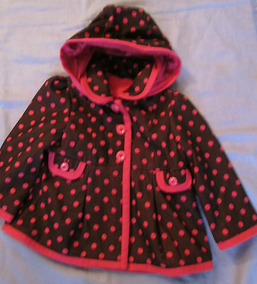 Ex George Girls Burgundy Pink Spot Hooded Swing Coat Jacket 9 Months To 5 Years