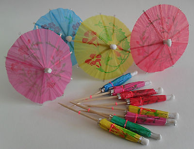 Cocktail Paper Umbrellas Parasols, Tropical Party Drinks, Pack 12, By Chef Aid