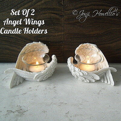 Set Of 2 ANGEL WINGS Tea Light CANDLE HOLDER Feathered WINGS Memorial Ornaments