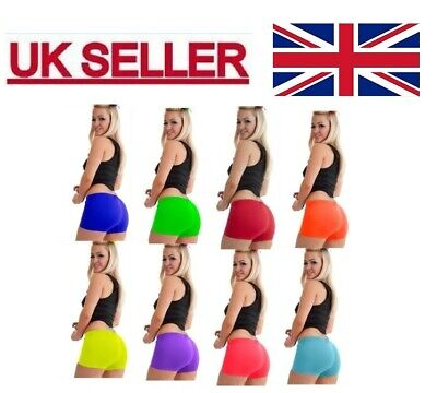 Ladies Girls Neon Lycra Stretchy Hot Pants Shorts Dance Fancy Dress Party