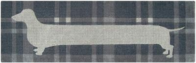 Long Sausage Dog Puppy Tartan Theme Grey - 100% Coir Doormat / Door Mat LONG