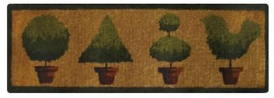 French Topiaries Theme - 100% Coir Doormat / Door Mat LONG