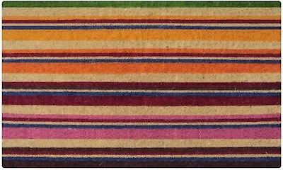 Horizontal Strips Colours Modern Unique - 100% Coir Doormat / Door Mat REGULAR