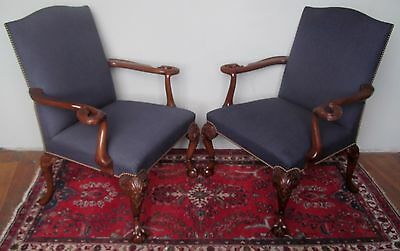 Exceptional Pair Of Swan Carved 19Th Century Ball & Claw Lolling Chairs-Must See