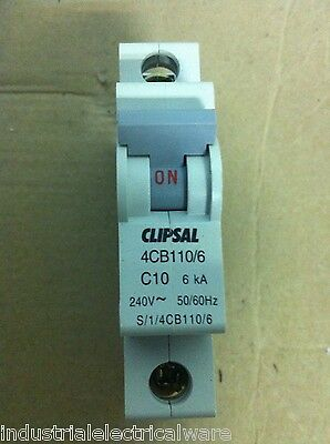 Clipsal Single Pole Miniature Circuit Breaker 10A 240V 6kA 4CB110/6