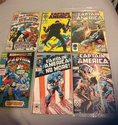 Captain America Marvel Comic Lot Of 6 1980s And Up