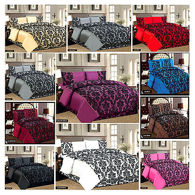3 pieces Damask Floral Flock Quilted Bedspread Comforter Throw + 2 Pillow Cases