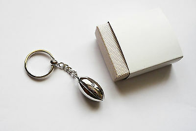 Metal Rugby Ball Key Ring
