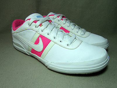 huge discount bbeb0 99d20 VGC NIKE Junior White Pink Leather Running Trainers Shoes UK Size 5 EU
