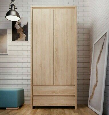 Modern Double Wardrobe 2 Door with Drawers Storage Sonoma Oak Kaspian Bedroom