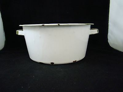 Vintage Antique White Porcelain Enameled Dutch Oven Pot With Green Trim