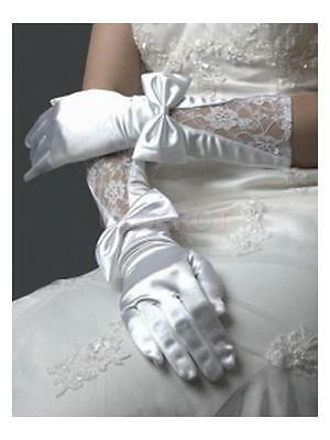 Fairytale White Silk Bowknot Lace Short Gloves Bridal Wedding Party Evening Prom