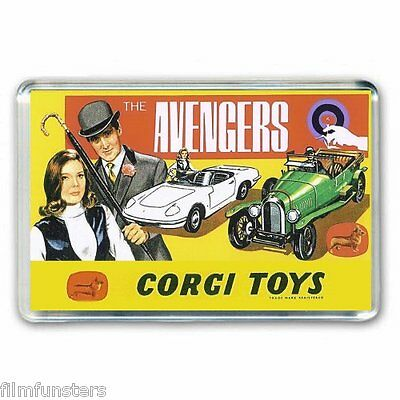Nostalgia  Corgi Toy Artwork-  The Avengers -Emma Peel Jumbo Fridge Magnet
