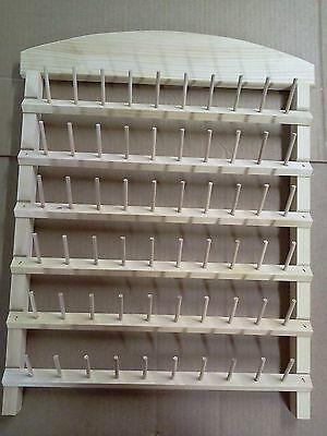 sewing thread rack 60 spool holder unfinished pine wood