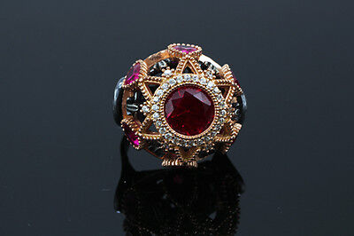 Vintage Ruby Statement Fashion Ring W Pear & Round Accents Sterling Silver #058