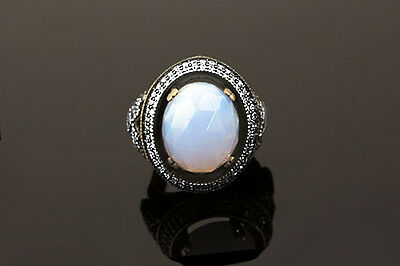 Opalite Fashion Vintage Ring W Round CZ Stone Halo & Accent Sterling Silver #062