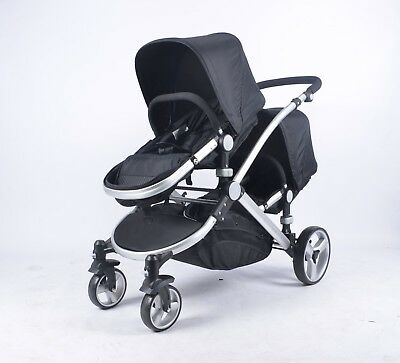 New Baby Girls / Boys Double Black Unisex Inline Tandem Buggy Pushchair Pram