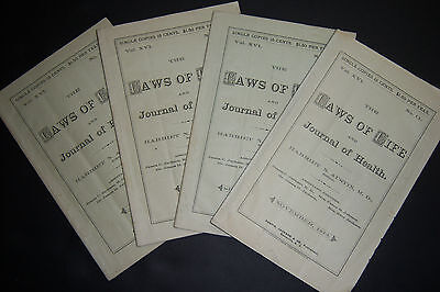 4 issues 1873 LAWS OF LIFE & JOURNAL OF HEALTH, medicine, July, Aug, Sept, Nov.