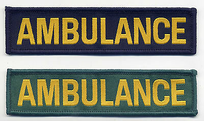 Ambulance Badge Patch 11.4cm x 2.8cm Navy Blue Or Green